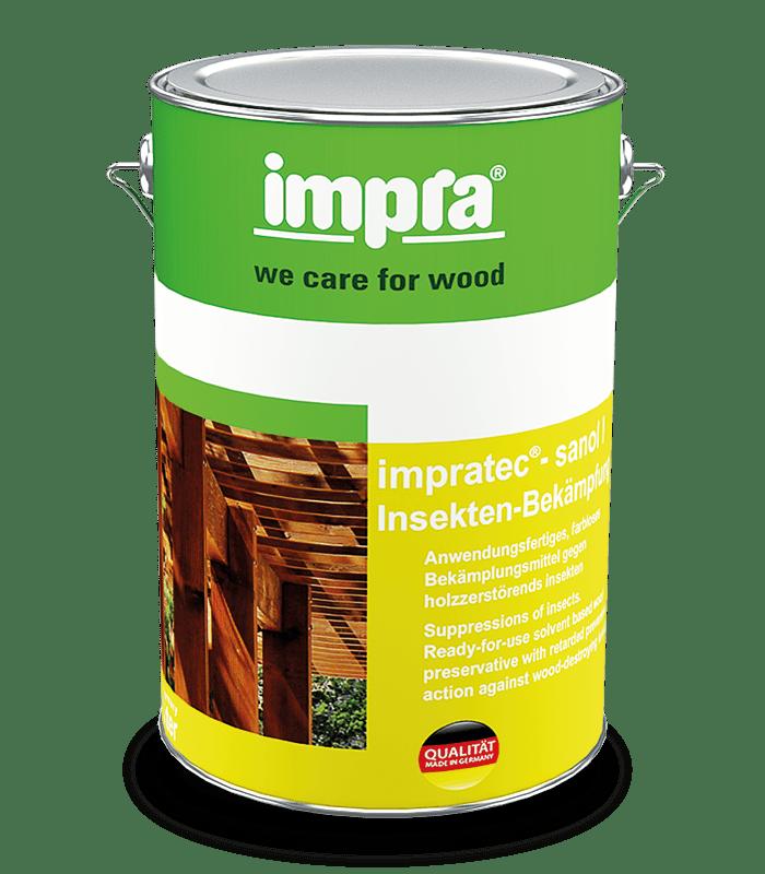 Impra Tec Sanol IB Защитное средство для древесины на основе растворителей для борьбы с дерево-разрушающими насекомыми, живущими в древесине.